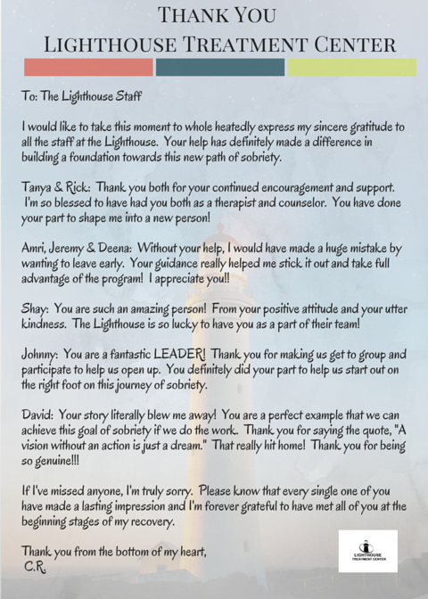 Thank You Letter to Lighthouse Treatment Center from a client